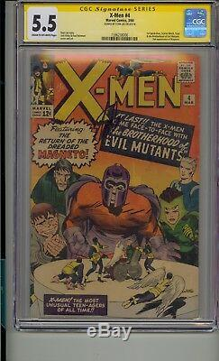 X-men #4 Cgc 5.5 Ss Signed Stan Lee 1st Quicksilver Scarlet Witch